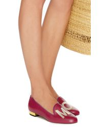 Charlotte Olympia - Pink Calf Leather Magenta Abc Flats - Lyst