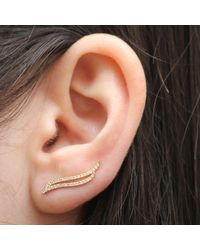 Anne Sisteron - 14kt Yellow Gold Diamond Flame Ear Cuff - Lyst