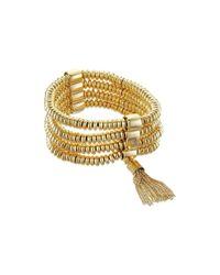 Vince Camuto | Metallic Stretch Tassel Bracelet | Lyst