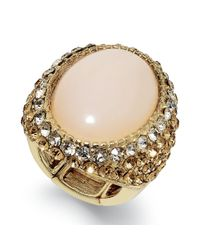 INC International Concepts | Metallic Gold-tone Oval Stone Pavé Stretch Ring | Lyst