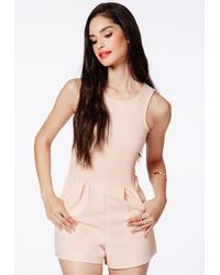 Missguided | Natural Dishita Nude Sleeveless Ribbed Romper | Lyst