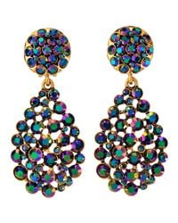 Oscar de la Renta Bold Pearcut Cluster Drop Clipon Earrings Blue