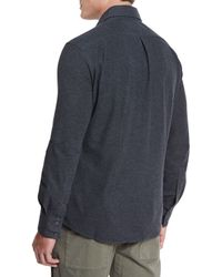 Brunello Cucinelli - Gray Long-sleeve Pique-knit Shirt for Men - Lyst