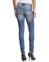 Eunina - Blue Low-Rise Distressed Classic Skinny Jeans - Lyst