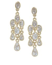 Carolee - Metallic Monaco Moments Gold Tone And Crystal Chandelier Earrings - Lyst