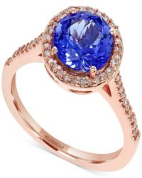 Effy Collection | Metallic Effy Tanzanite (1-9/10 Ct. T.w.) And Diamond (1/5 Ct. T.w.) Round Ring In 14k Rose Gold | Lyst