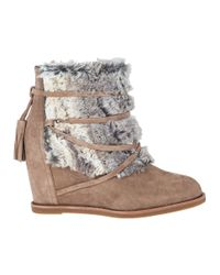 Johnston & Murphy - Natural Brynn Suede Wedge Boots - Lyst