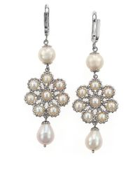 Effy | Metallic Sterling Silver And Freshwater Pearl Flower Drop Earrings | Lyst