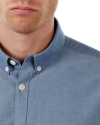 Jaeger Blue Washed Oxford Shirt for men