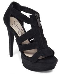 Jessica Simpson | Black Leather Strappy Platform Sandals | Lyst