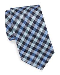 Vince Camuto - Blue Plaid Silk Tie for Men - Lyst
