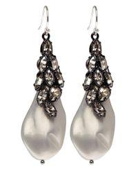 Alexis Bittar - White Ruthenium Pearl and Crystal Moonlight Earrings - Lyst