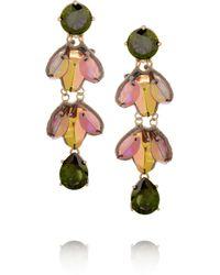 Tory Burch Green Embellished Cubic Zirconia Earrings