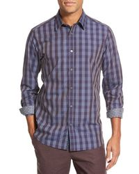 Ted Baker Purple 'bronor' Slim Fit Check Sport Shirt for men