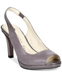 Anne Klein | Metallic Jarry Slingback Platform Pumps | Lyst