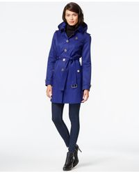 Michael Kors | Blue Michael Hooded Satin Trench Coat | Lyst