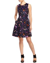 Vince Camuto | Multicolor Navy Floral Fit & Flare Knit Dress | Lyst