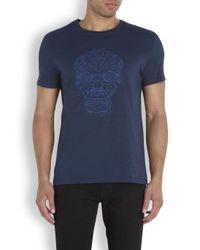 Alexander McQueen Blue Navy Embroidered Skull T-Shirt for men