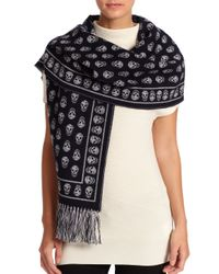 Alexander McQueen | Natural Large Upside-Down Skull Scarf | Lyst