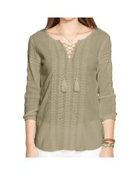 Ralph Lauren | Natural Embroidered Cotton Top | Lyst