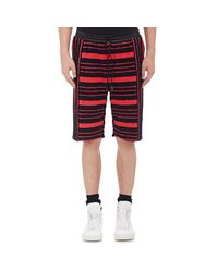 Alexander Wang Red Chenille-striped Shorts for men