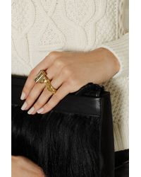 Alexander McQueen | Metallic Gold-Tone Swarovski Crystal Two-Finger Ring | Lyst
