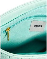 ASOS - Green Zip Top Clutch Bag with Laser Cut - Lyst
