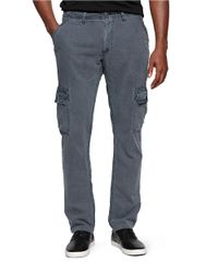 Calvin Klein Jeans | Blue Linen Straight Leg Cargo Pants for Men | Lyst