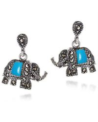 Aeravida - Royal Elephant Blue Turquoise And Marcasite .925 Silver Earrings - Lyst