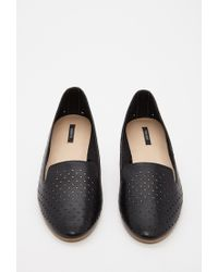 Forever 21 Black Perforated Faux Leather Loafers