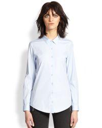 The Kooples - Blue Stretch Cotton Poplin Shirt - Lyst