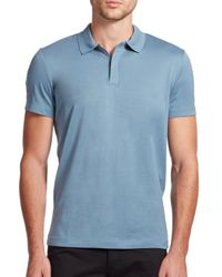 Theory | Blue Zip Cotton Polo for Men | Lyst