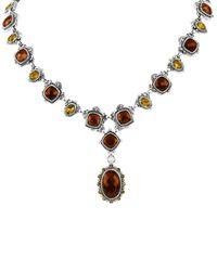 Konstantino Brown Sterling Silver Cognac Quartz Citrine Pendant Drop Necklace