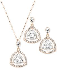 Swarovski | Metallic Rose Gold-plated Crystal Orbital Necklace And Earrings Set | Lyst