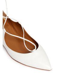 Aquazzura White 'christy' Lace-up Leather Flats