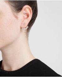 Yvonne Léon | White 18K Gold Five Mini Pearl Lobe Earring | Lyst