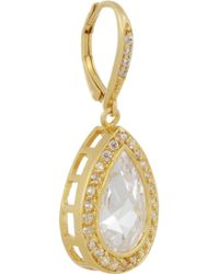 Kenneth Jay Lane Metallic Gold Plated Cubic Zirconia Drop Earrings