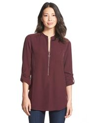Halogen | Purple Zip Front Blouse | Lyst