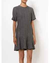 Sea | Gray Ruffle-Hem Wool-Blend Dress | Lyst