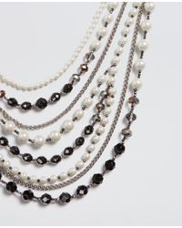 Ann Taylor - Black Pearlized Statement Necklace - Lyst