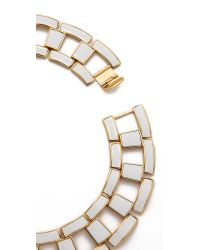 Rachel Zoe Eloise Leather Link Collar Necklace - White