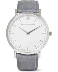 Larsson & Jennings Gray Croc-effect Leather And Silver-plated Watch