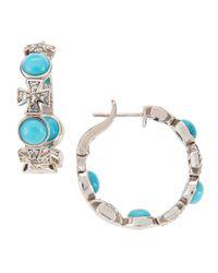 Elizabeth Showers | Blue Turquoise & Sapphire Maltese Hoop Earrings | Lyst