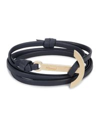 Miansai | Blue Navy Anchor Leather Wrap Bracelet for Men | Lyst
