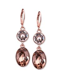 Givenchy | Pink Rose Goldtone Swarovski Silk Crystal Double Drop Earrings A Macys Exclusive | Lyst