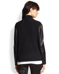 The Kooples - Black Leather-Paneled Cardigan - Lyst