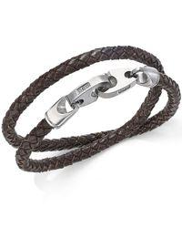 Macy's | Black Men's Woven Leather Wrap Bracelet In Stainless Steel for Men | Lyst