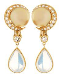 Assael | Metallic 18k South Sea Pearl Moonstone Earrings | Lyst