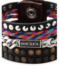 DIESEL - Brown 'acaosi' Bracelet for Men - Lyst