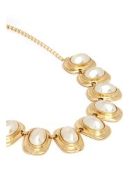 Kenneth Jay Lane - Metallic Faux Pearl Station Necklace - Lyst
